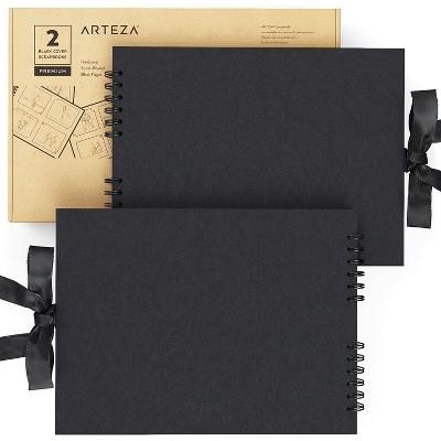 "Arteza Spiral-Bound Scrapbook, Black Cover, 8.5"" x 11"", 40 Sheets - Pack of 2"