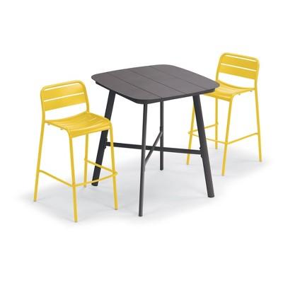 "Eiland 3pc Patio Set with 36"" Square Table & Kapri Chairs - Saffron - Oxford Garden"