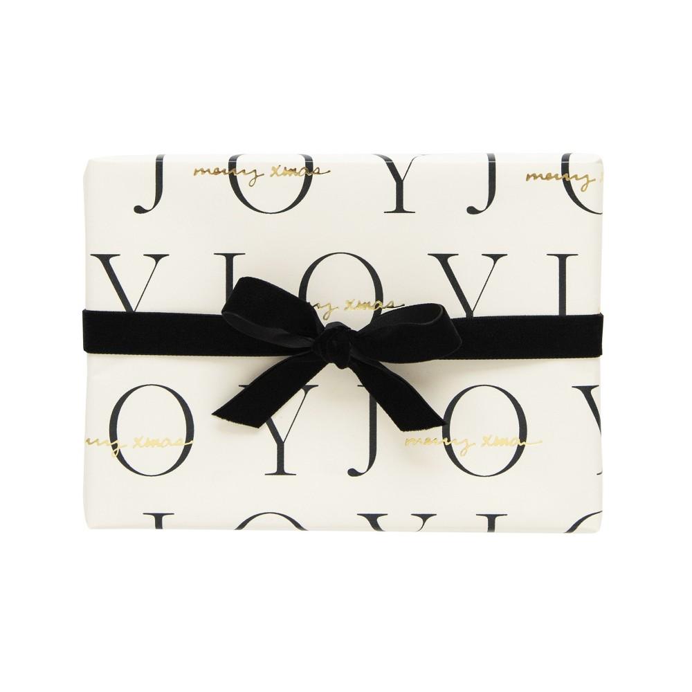 Joy Cream & Black Gift Wrap, Single Roll - sugar paper, Panna Cream