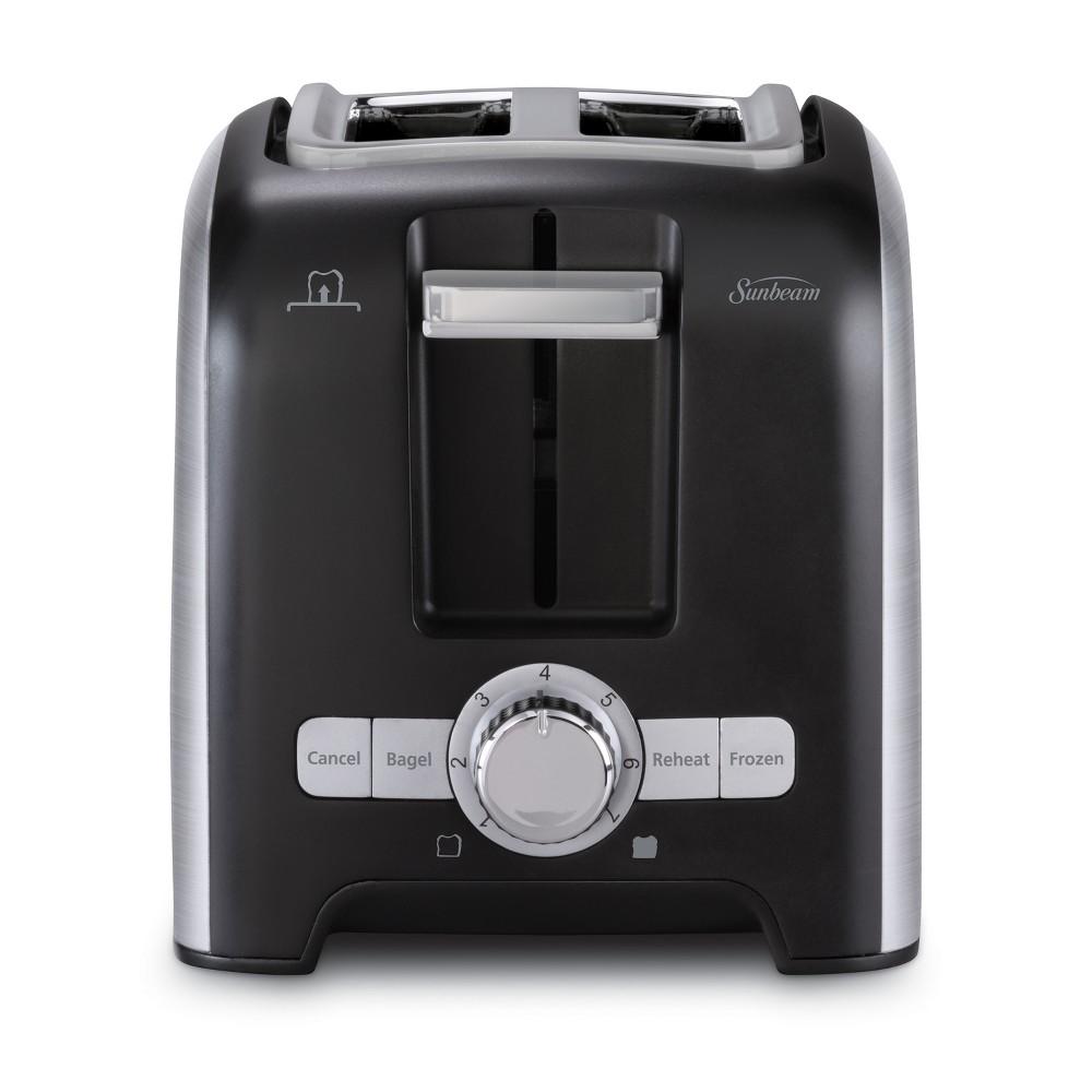 Sunbeam 2 Slice Wide-Slot Toaster - Brushed Stainless Steel TSSBTRSB04, Black