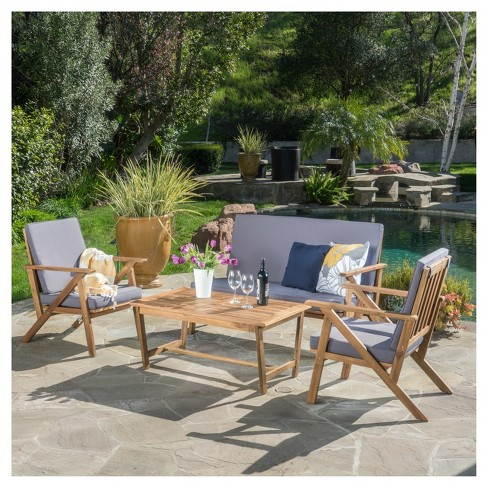 Panama 4pc Acacia Wood Patio Chair Set Teak Finish Christopher