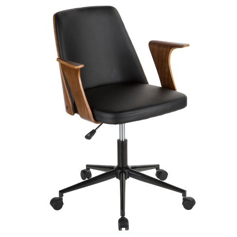 Verdana Mid Century Modern Office Chair Walnut Black Lumisource Target