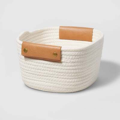 """11"""" Decorative Coiled Rope Square Base Tapered Basket with Leather Handles Small White - Threshold™"""