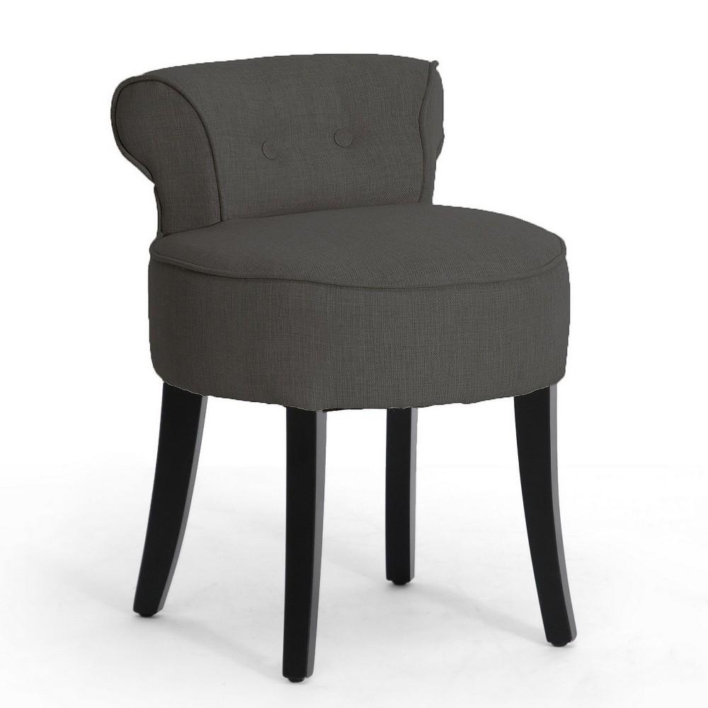 Millani Linen Modern Lounge Stool Gray - Baxton Studio