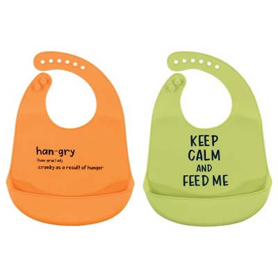 Hudson Baby Infant Silicone Bibs 2pk, Hangry, One Size