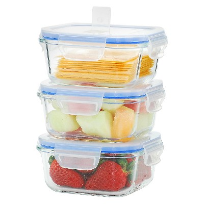 Kinetic GoGreen Glasslock Elements 6-Piece Square Oven Safe Glass Food Storage Container Set with Vented Lid, 17 oz.