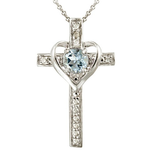 Sterling Silver Diamond/Accent Blue Topaz Heart- Cross Necklace - image 1 of 1