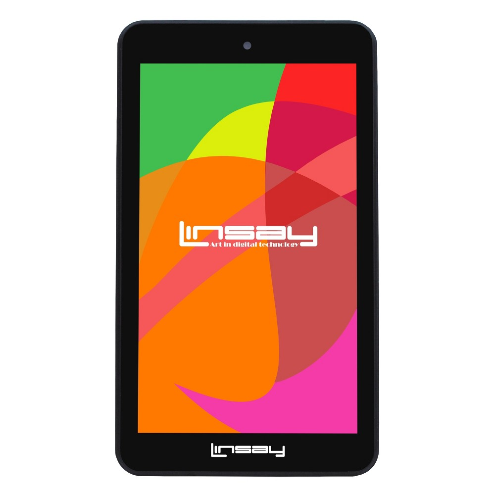 "LINSAY 7"" HD Quad Core Dual Camera Android Tablet, Black"