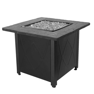 Endless Summer 30 Inch Square 30,000 BTU LP Gas Outdoor Fire Pit Table with Handcrafted Mantel, Fire Rocks, and Protective Cover, Black