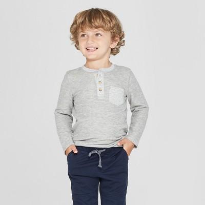 Toddler Boys' Long Sleeve Henley Shirt with Pocket - Cat & Jack™ Gray 12M