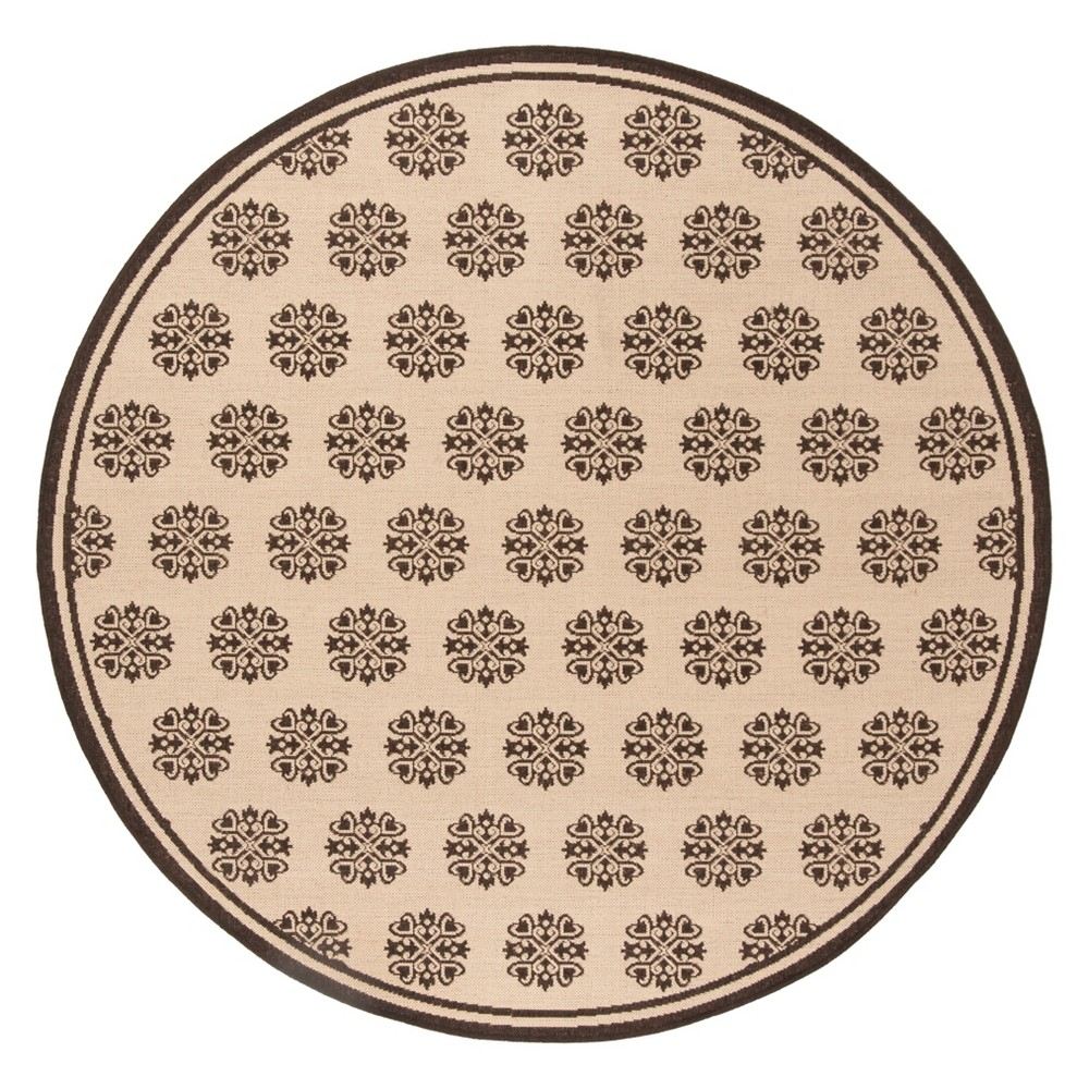 6'7 Medallion Loomed Round Area Rug Creme/Brown - Safavieh