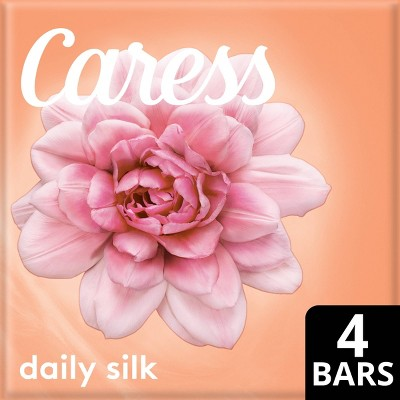 Caress Daily Silk White Peach & Orange Blossom Scent Bar Soap - 4pk - 3.75oz each