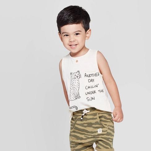 Toddler Boys' Henley 'Cheetah' Pocket Tank Top - art class™ White - image 1 of 3