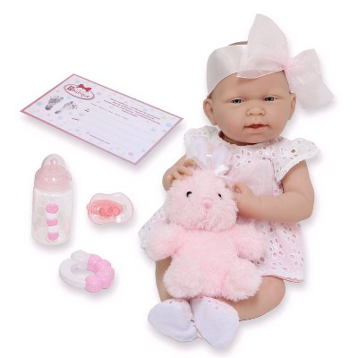 """JC Toys La Newborn 15"""" Girl Doll - White Eyelet Dress with Bunny and Accessories"""