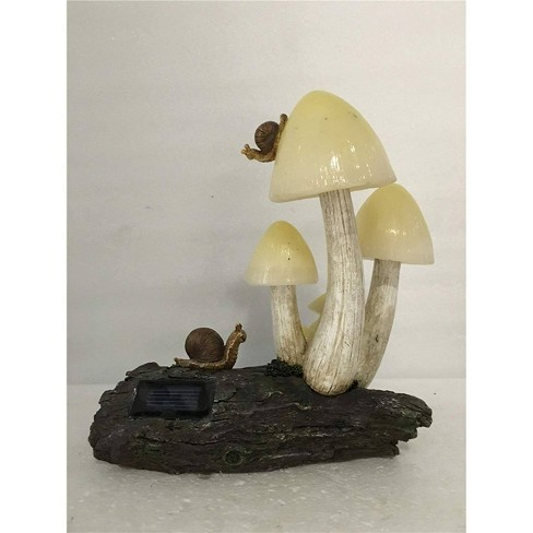 """11"""" Polyresin Mushrooms and Snails with Solar Lights Outdoor Statue Yellow - Hi-Line Gift - image 1 of 1"""