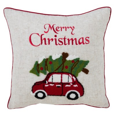 Holiday Car Square Throw Pillow Tan - Saro Lifestlye
