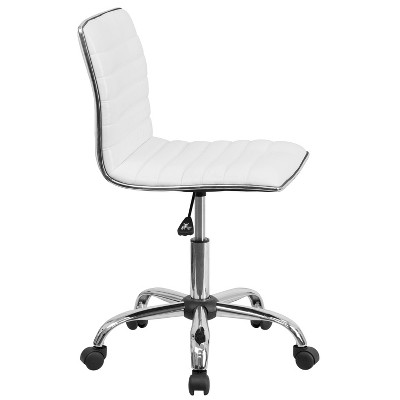 Incroyable Low Back Armless Designer Swivel Task Chair White   Flash Furniture