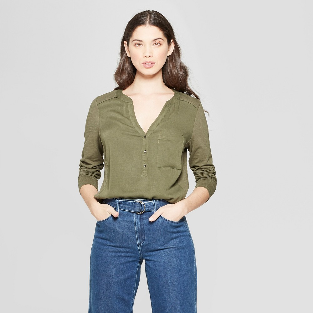 Women's Long Sleeve Blouse - Universal Thread Olive (Green) XL