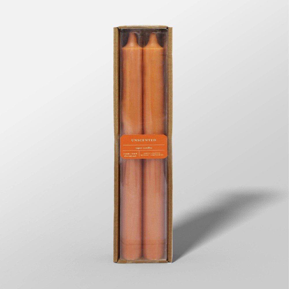"Image of ""10"""" 2pk Unscented Taper Candles Orange - Threshold"""