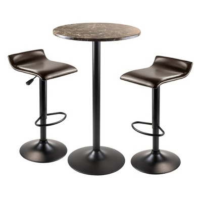 Cora Round Bar Height Dining Set with 2 Swivel Stools Wood/Black - Winsome