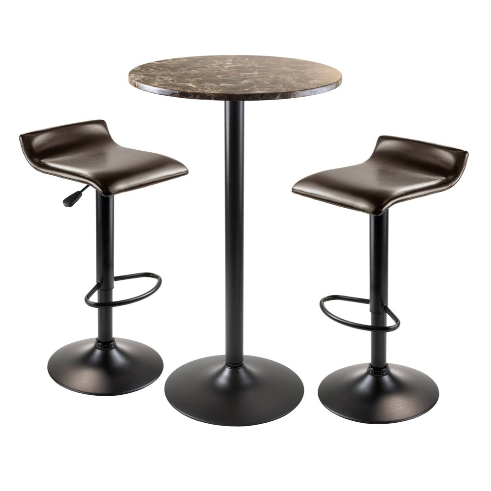Cora Round Pub Table with 2 Swivel Stools Wood/Black - Winsome