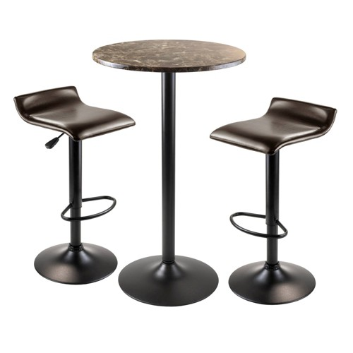 Cora Round Bar Height Dining Set With 2 Swivel Stools Wood B