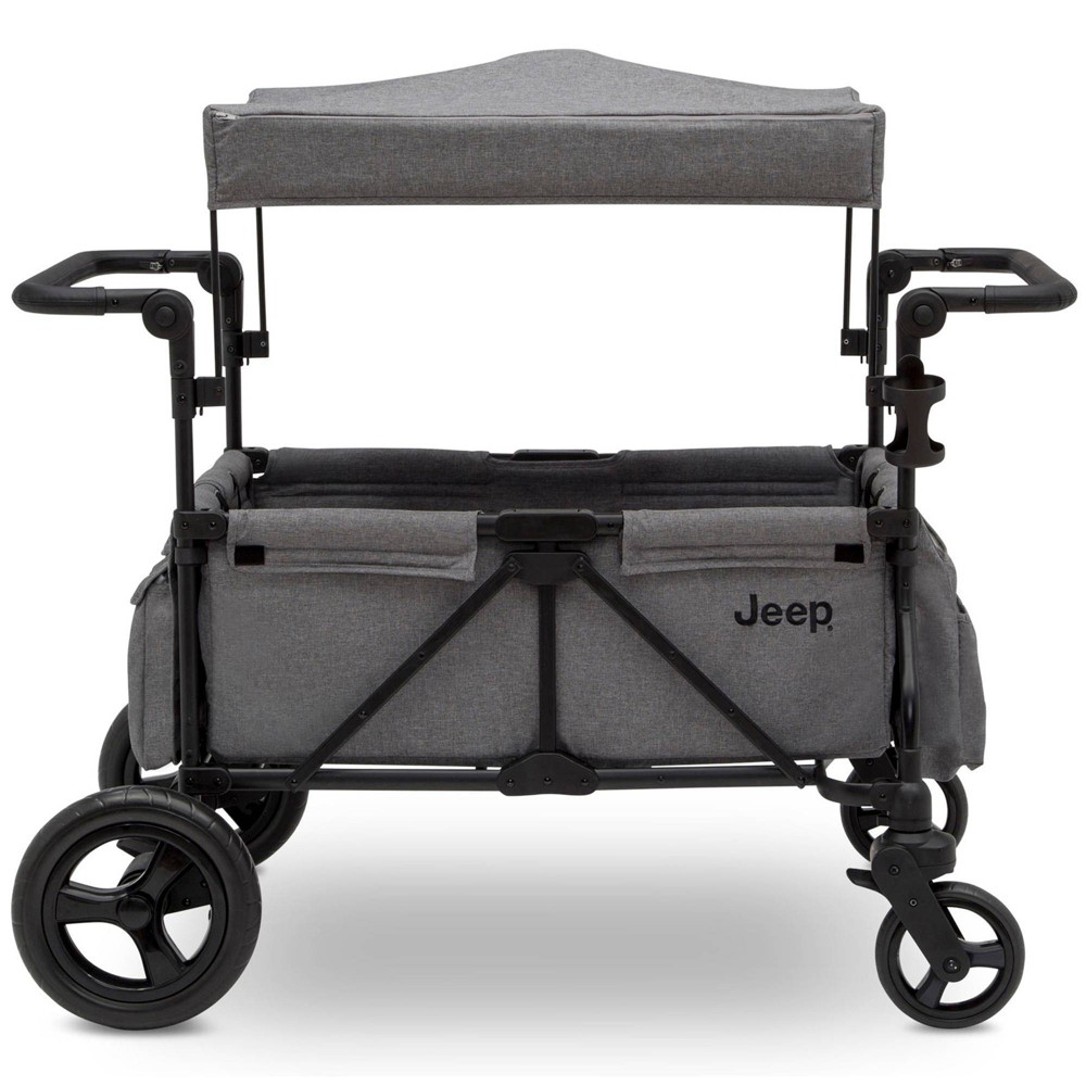 Image of Jeep Wrangler Stroller Wagon with Included Car Seat Adapter by Delta Children - Gray