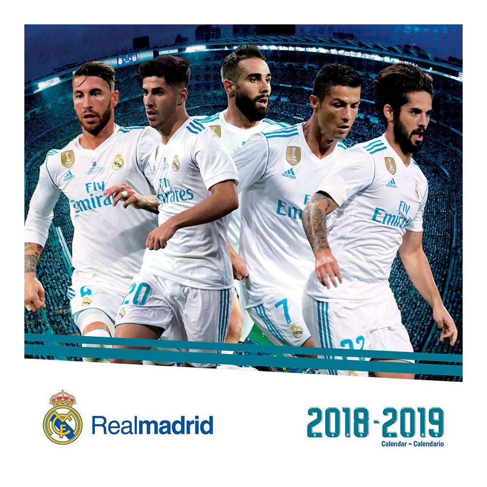 2019 Wall Calendar Real Madrid (17 month) - Trends International, Multi-Colored