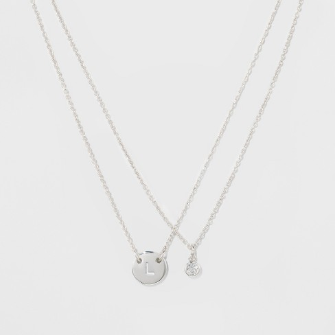 "Women's Silver Plated Letter L Initial Clear Crystal Necklace - Silver (18"") - image 1 of 3"