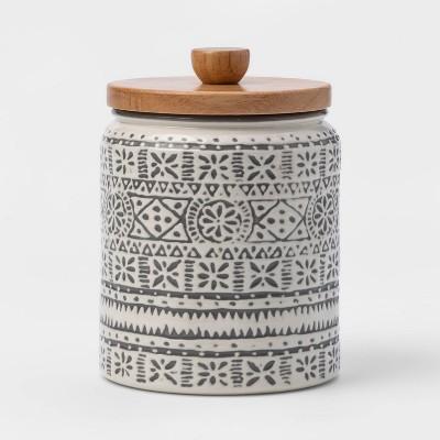 27oz Stoneware Genesis Stripe Food Storage Canister White/Gray - Threshold™