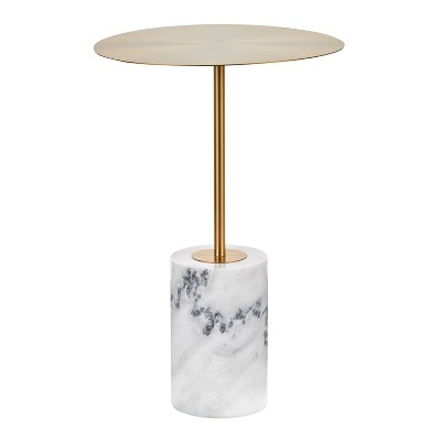 Symbol Contemporary Side Table Metal and Marble Gold/White - LumiSource