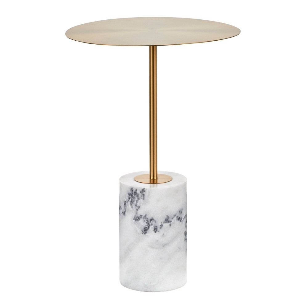 Symbol Contemporary Side Table Metal And Marble Gold White Lumisource