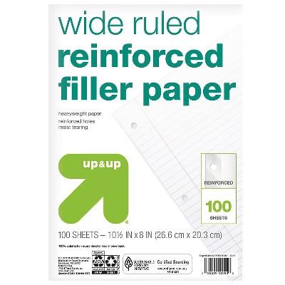 100ct Wide Ruled Reinforced Filler Paper - up & up™