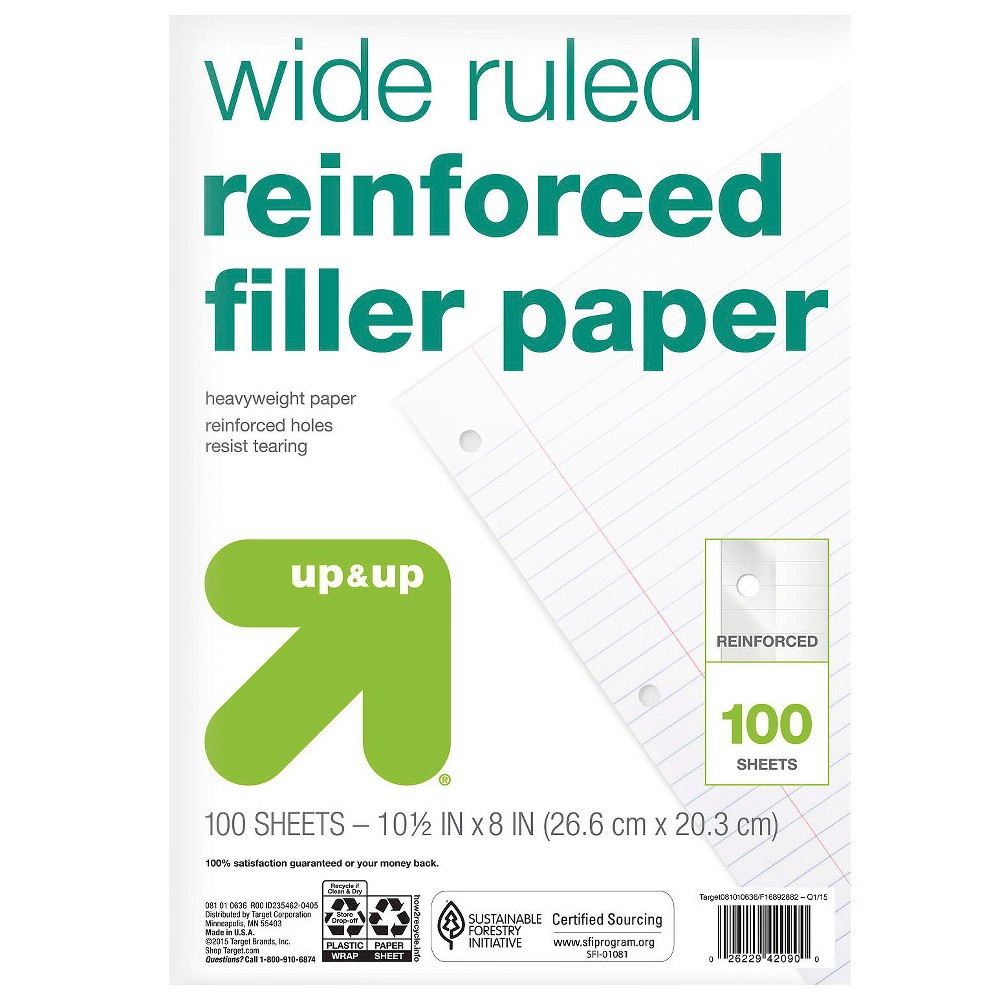 Image of 100ct Wide Ruled Reinforced Filler Paper - Up&Up