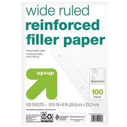 100ct Wide Ruled Reinforced Filler Paper - Up&Up™