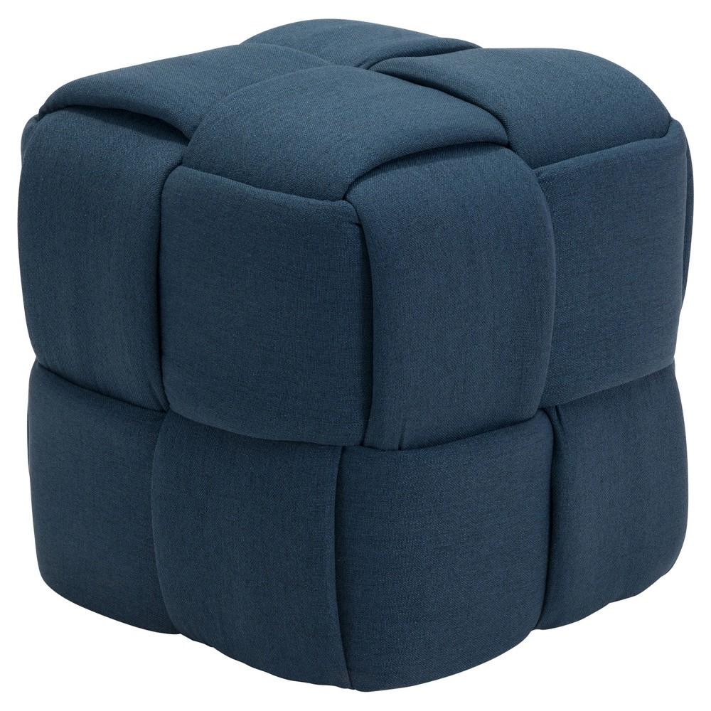 Upholstered Basket Weave Stool - Navy (Blue) - ZM Home