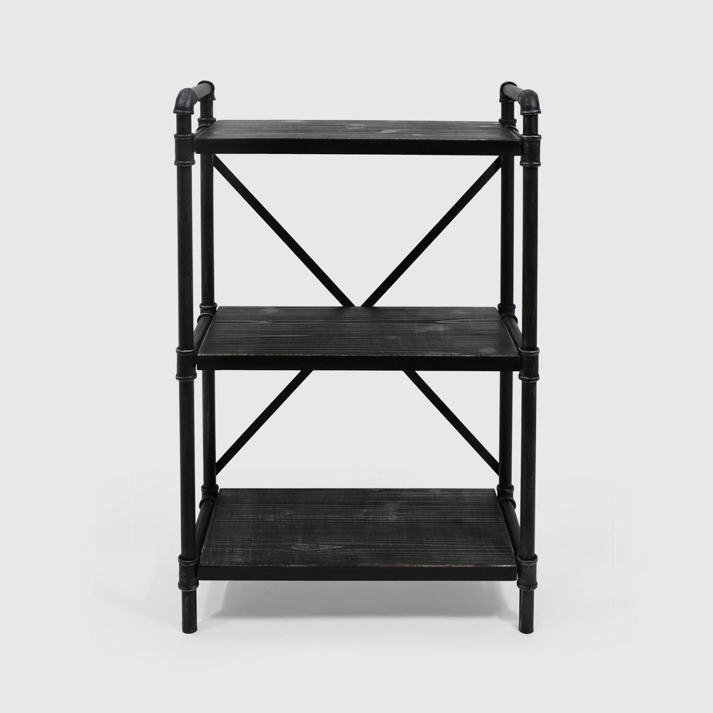 Image of Honeysuckle Industrial Three Shelf Bookcase Gray/Pewter Finish - Christopher Knight, Gray/Silver Finish