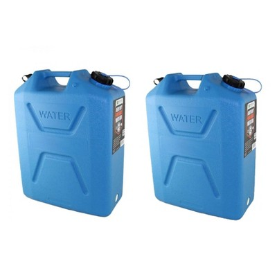 Wavian USA 5 Gallon Plastic Water Jug Can Container w/ Easy Pour Spout, 2 Pack
