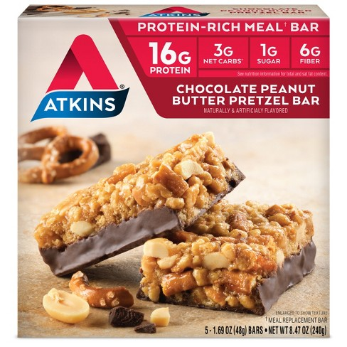 Atkins Meal Bar - Chocolate Peanut Butter Pretzel - 5ct - image 1 of 1