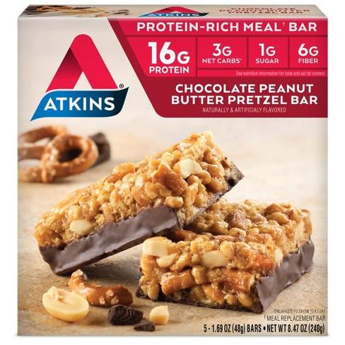 Atkins Meal Bar - Chocolate Peanut Butter Pretzel - 5ct - image 1 of 3