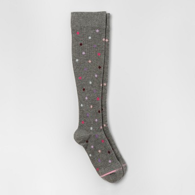 Dr. Motion Women's Mild Compression Dancing Dots Knee High Socks - Gray Heather 4-10