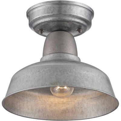 "John Timberland Rustic Outdoor Ceiling Light Fixture Semi Flush Urban Barn Farmhouse Galvanized 10 1/4"" for Porch Kitchen"