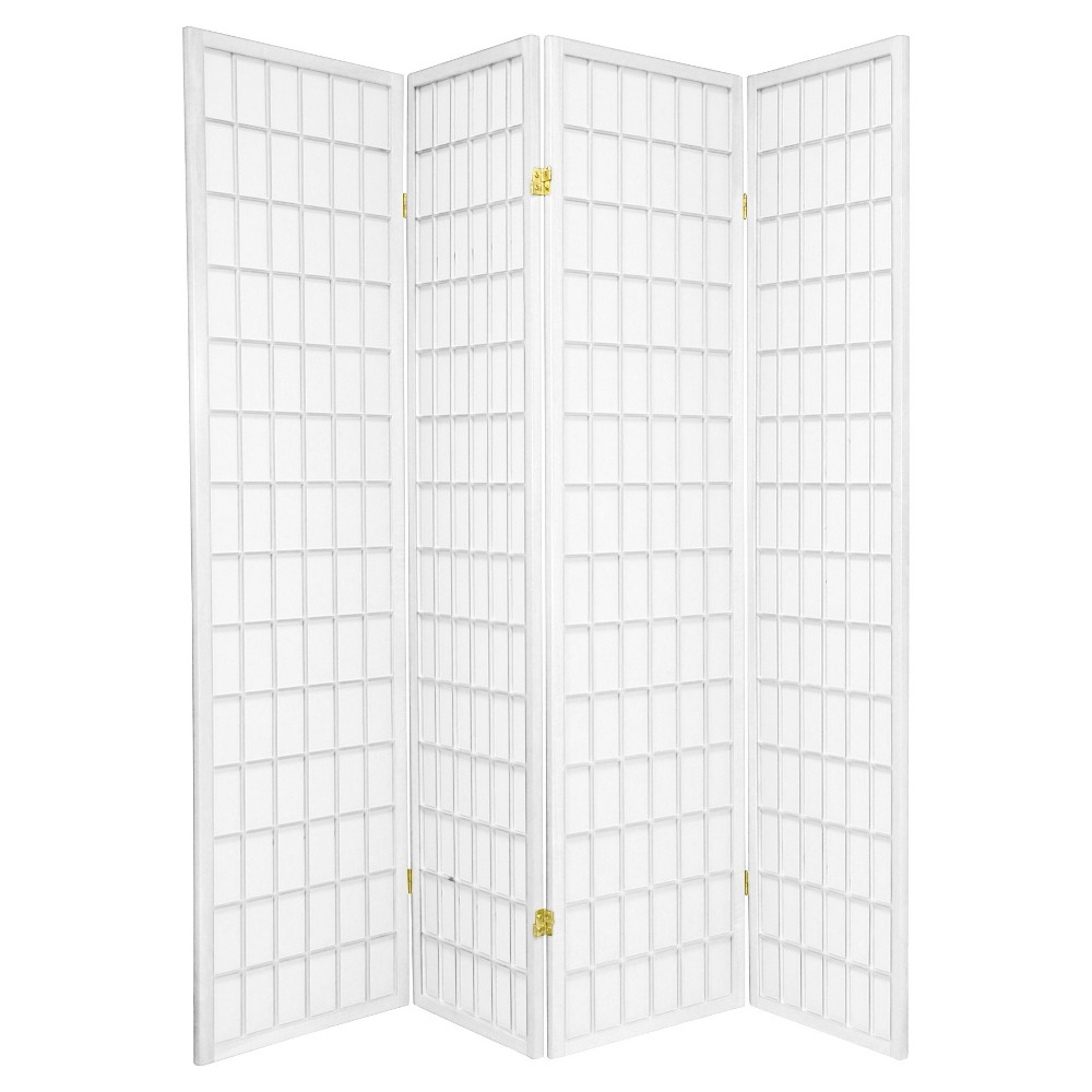 6 ft. Tall Window Pane Shoji Screen - White (4 Panels)