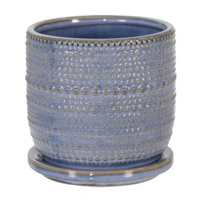 "5"" Ceramic Textured Planter with Saucer Blue - Sagebrook Home"