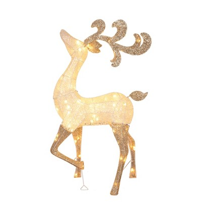 Northlight 4.6' Lighted and Glitter Drenched Reindeer Outdoor Christmas Yard Art