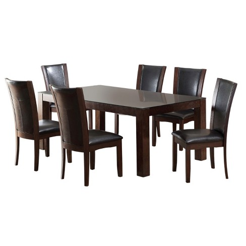 Iohomes 7pc Tempered Glass Top Dining Table Set Wooddark Cherry
