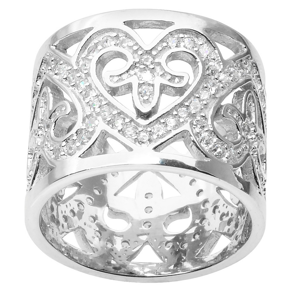 1 1/4 CT. T.W. Round Cut CZ Pave Set Heart Band in Sterling Silver - Silver (7) (15MM)