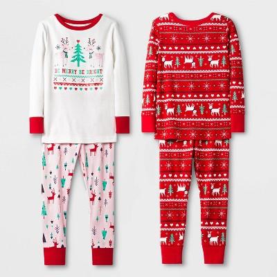 Toddler Girls' 4pc 100% Cotton Unicorn Pajama Set - Cat & Jack™ Red/White 2T