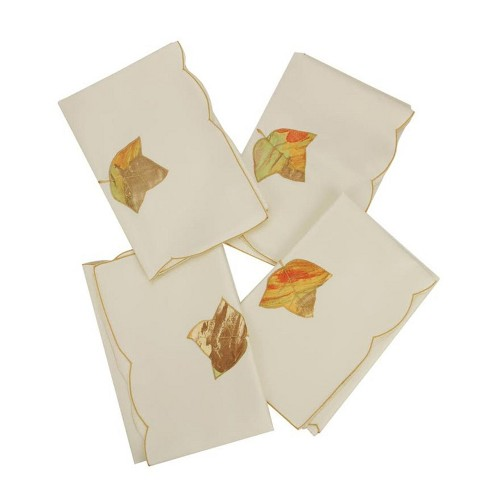 "Heritage Lace Set of 4 Autumn Elegance Embroidered Fine Linen Fall Leaf Napkins 21"" x 21"" - image 1 of 2"