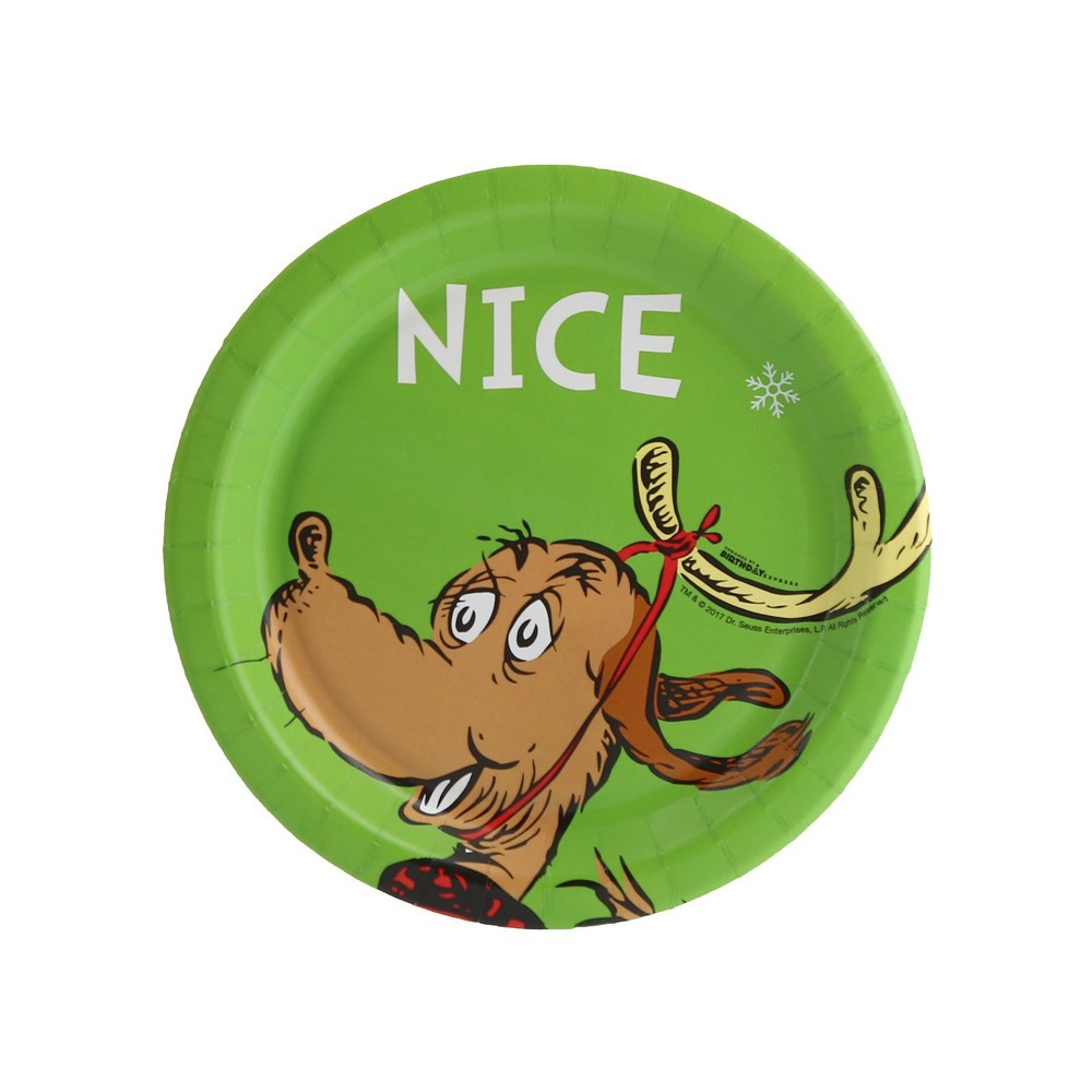 24ct BuySeasons Dr. Seuss Grinch Nice Dessert Plate, Multi-Colored